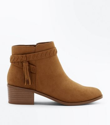 Teens Tan Suedette Tassel Ankle Boots