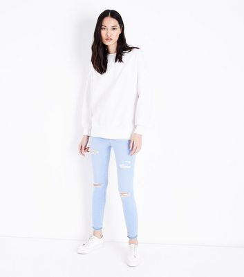 Bright Blue Ripped High Waist Skinny Hallie Jeans