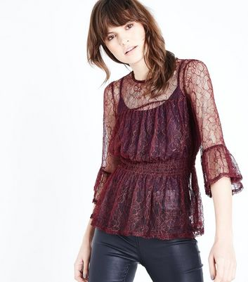 Burgundy Lace Shirred Waist Frill Trim Top