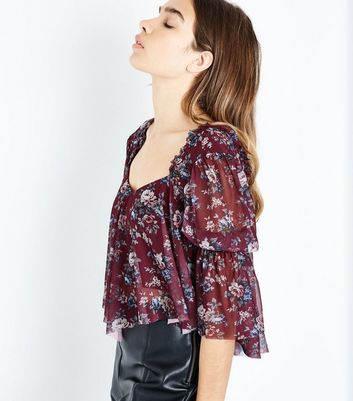 Purple Floral Mesh Shirred Sleeve Crop Top