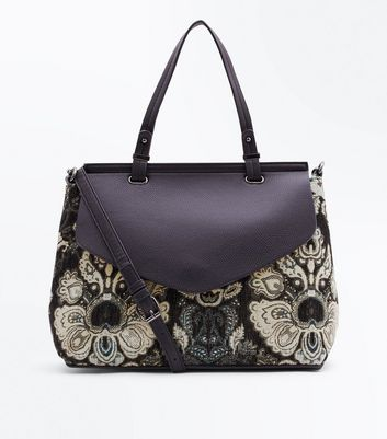 Black Jacquard Structured Satchel