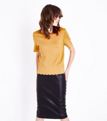 Yellow Scallop Hem T-Shirt