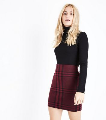Burgundy Wide Check Jersey Tube Skirt