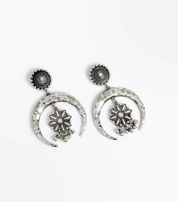 Silver Burnished Crescent Moon and Flower Earrings
