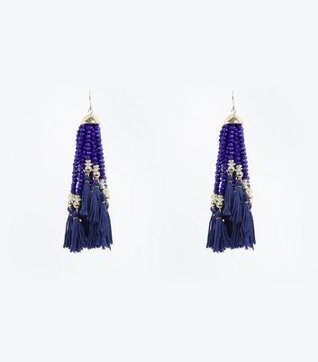 Bright Blue Beaded Tassel Drop Earrings