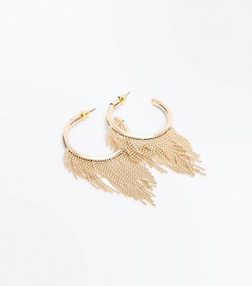 Gold Ball and Chain Trim Hoop Earrings