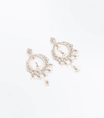 Gold Stone Embellished Pearl Hoop Earrings