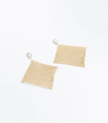 Gold Stone Embellished Chainmail Earrings