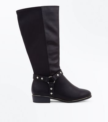 Wide Fit Black Studded Stirrup Knee High Boots