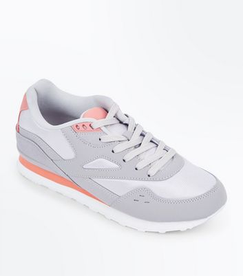 Grey Colour Block Chunky Trainers