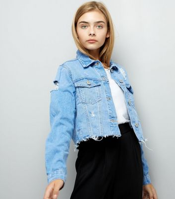Teens Blue Ripped Denim Cropped Jacket