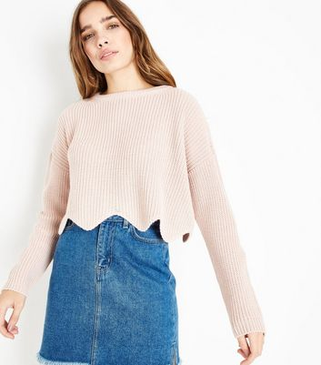 Shell Pink Scallop Hem Jumper