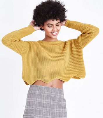 Mustard Yellow Scallop Hem Jumper