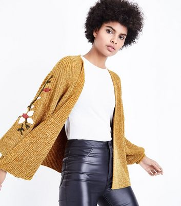 Mustard Chenille Embroidered Balloon Sleeve Cardigan