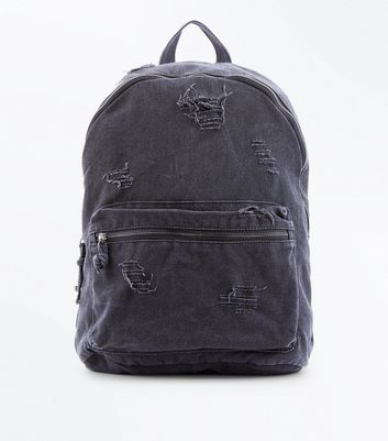 Dark Grey Distressed Backpack