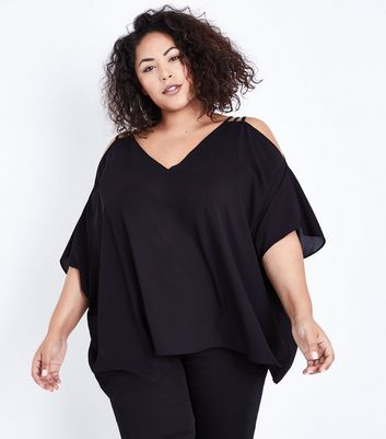 Curves Black Triple Strap Cold Shoulder Top