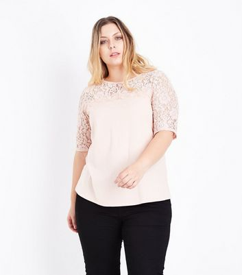 Curves Shell Pink Lace Yoke and Sleeve T-Shirt