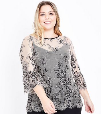 Curves Shell Pink 2 Tone Lace Bell Sleeve Top