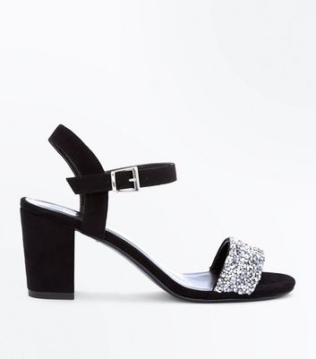 Teens Black Suedette Embellished Block Heel Sandals