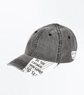 Dark Grey Slogan Washed Cap
