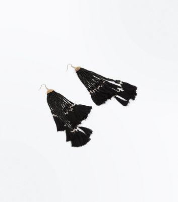 Black Bead Tassel Asymmetric Earrings