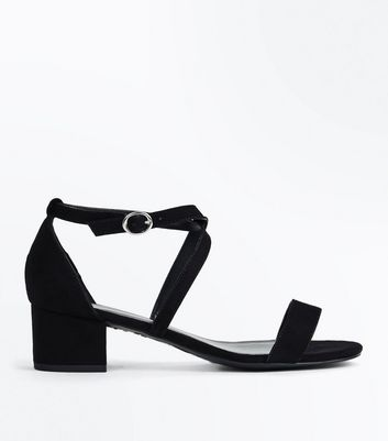 Teens Black Suedette Cross Strap Block Heels
