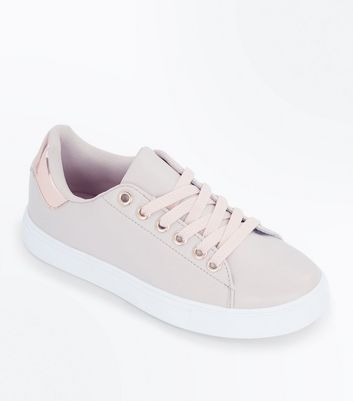 Teens Nude Metallic Back Panel Trainers