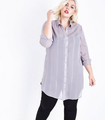 Curves Grey Metallic Stripe Sheer Longline Shirt