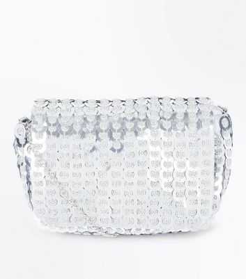 Silver Sequin Chain Shoulder Bag
