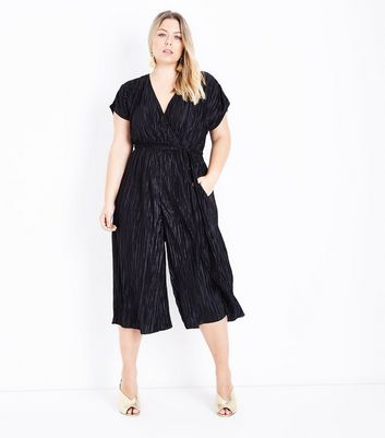 Black Plisse Wrap Front Jumpsuit