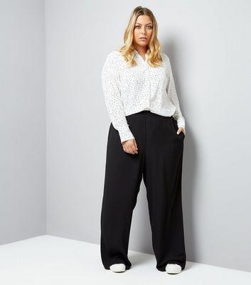 Curves Black Wide Leg Trousers