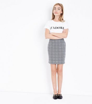 Teens Black Check Tube Skirt