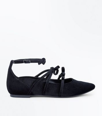 Black Velvet Strappy Bow Pointed Pumps