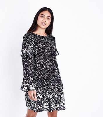 Petite Black Contrast Floral Print Frill Trim Dress
