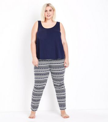 Curves Blue Fairisle Pyjama Set