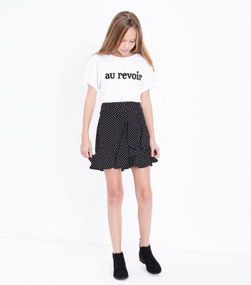 Teens Black Polka Dot Frill Hem Skirt