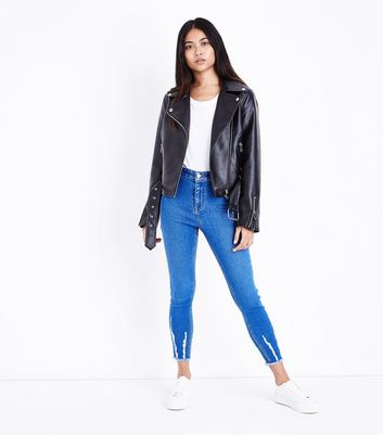 Petite Bright Blue Fray Hem High Waist Skinny Jeans