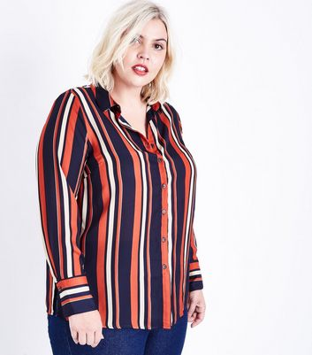 Curves Black Contrast Stripe Shirt