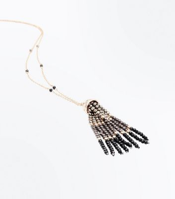 Gold Tassel Front Pendant Necklace