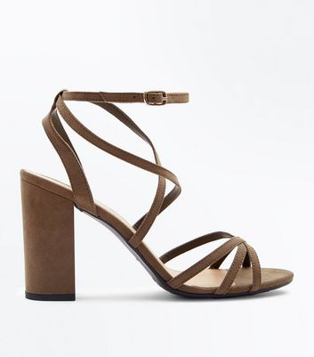 Wide Fit Khaki Suedette Strappy Block Heels