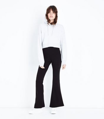 Black Crepe Scuba Flared Trousers