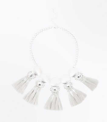 Silver Embellished Metallic Tassel Necklace