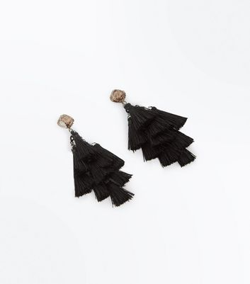 Black Glitter Top Tassel Drop Earrings