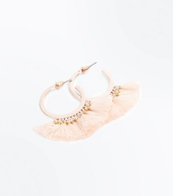 Pink Tassel Mini Hoop Earrings
