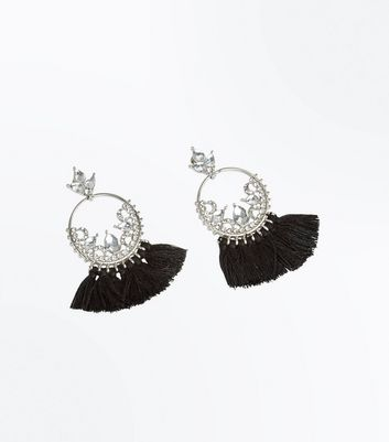 Black Tassel Gem Hoop Earrings