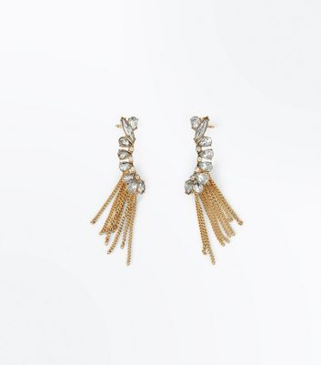 2 Pack Gold Crystal Chain Tassel Ear Cuffs