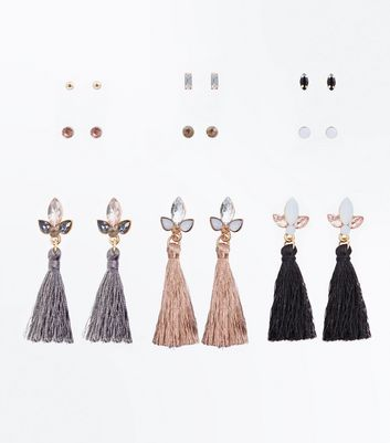 Multi Coloured Stud and Tassel Drop Earrings Pack