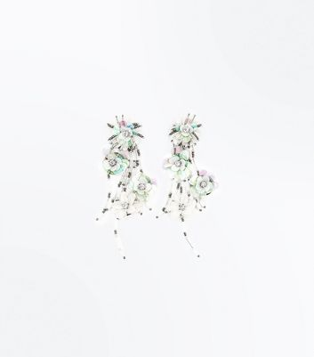Off White Sequin Floral Drop Earrings