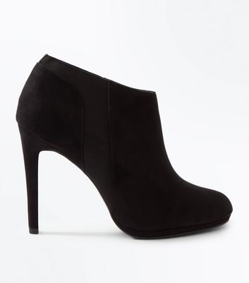 Black Suedette Stiletto Heel Shoe Boots