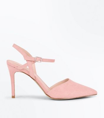 Pink Suedette Ankle Strap Pointed Court Shoes